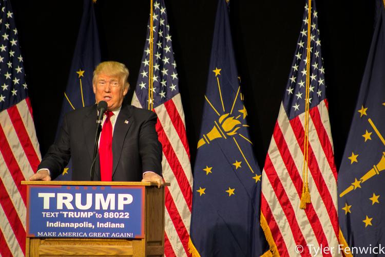 Trump speaks, photo by Tyler Fenwick
