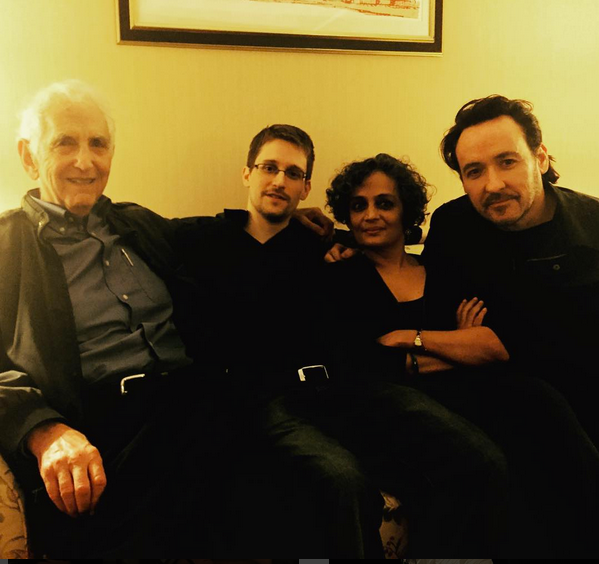(L to R) Ellsburg, Snowden, Roy, and Cusack in Moscow. (Photo courtesy of John Cusack's Facebook page.)