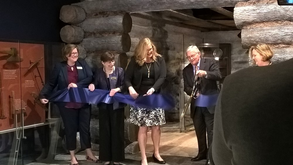 Indiana State Museum and Historic Sites President and CEO Tom King snips the ribbon to launch the first phase of the museum's five-phase InVision Campaign at the press preview on Nov. 2.