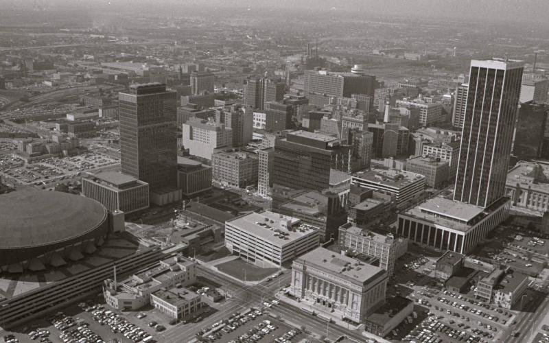 Aerial view of downtown Indianapolis, Oct. 12, 1976, photo courtesy of University of Indianapolis