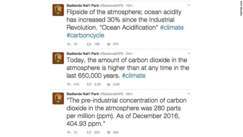 These tweets from Badlands National Park, regarding climate change, have since been deleted.