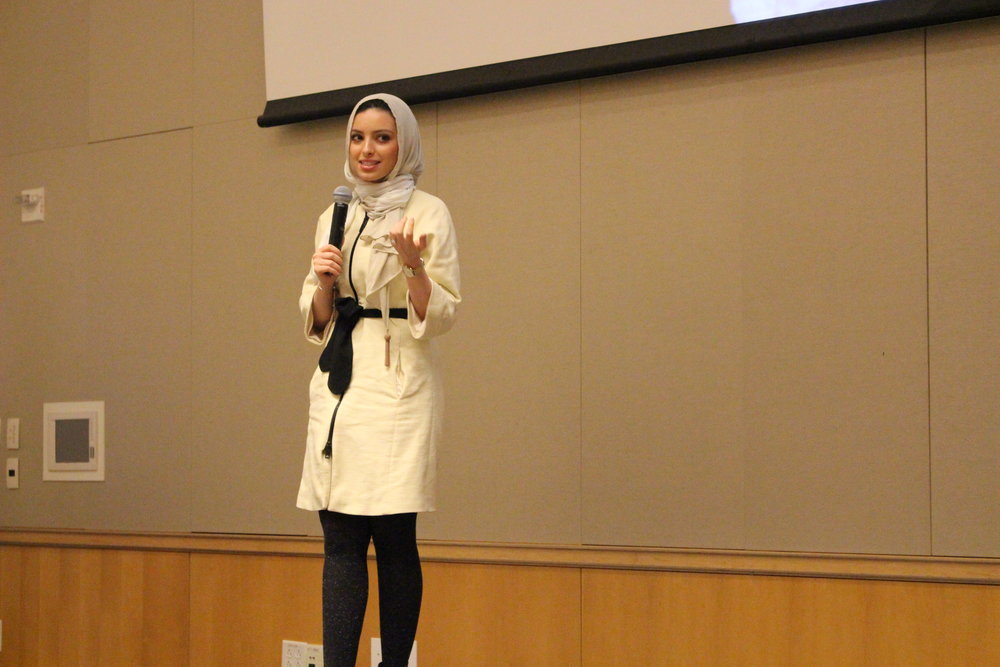 Associate CBS Radio journalist Noor Tagouri speaks at IUPUI on Feb. 16 as part of the university's 2016-2017 Chancellor's Diversity Lecture series.