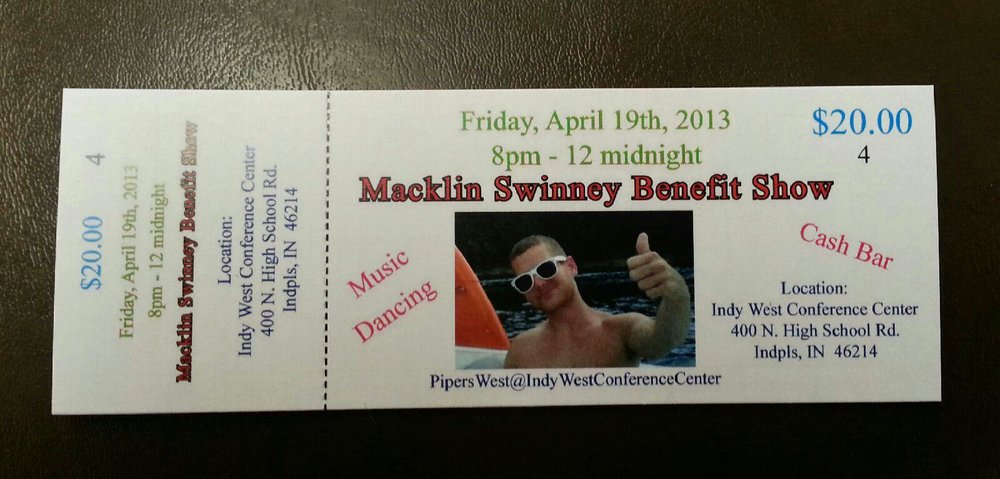 A ticket for the Macklin Swinney Benefit Show, put on by his family to pay for his medical bills during his first diagnosis. (Image courtesy of Madison Swinney)