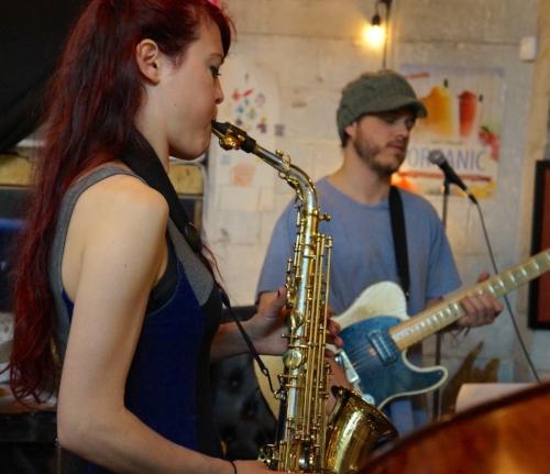 Charlie Ballantine and Amanda Gardier playing a set at Coal Yard Coffee in Irvington