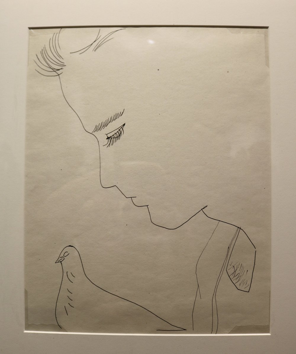 Young Man with Pigeon, Circa 1956. Copyright Andy Warhol, used with permission from Rhonda Long-Sharp.