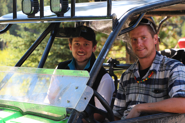 Rowan Wolf Garleff (L) and an OHV enthusiast out in Dutch Creek, August 2015.