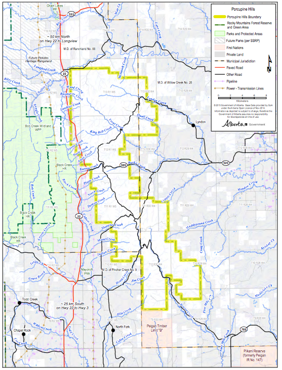 Porcupine Hills Boundary Map