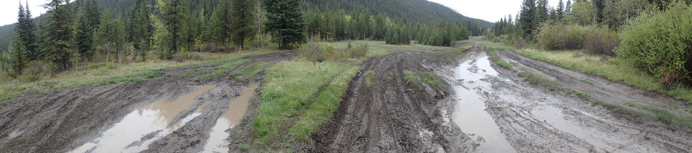 Roads and trails degraded quickly in the rainy conditions