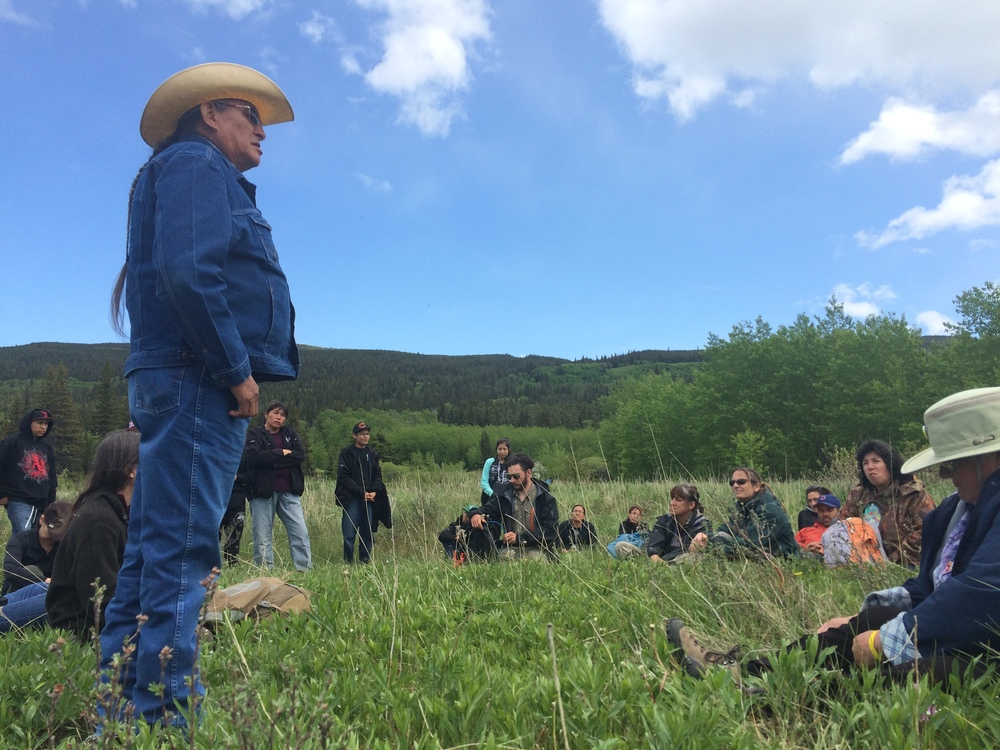 Elder Wilton Goodstriker providing traditional knowledge of the area