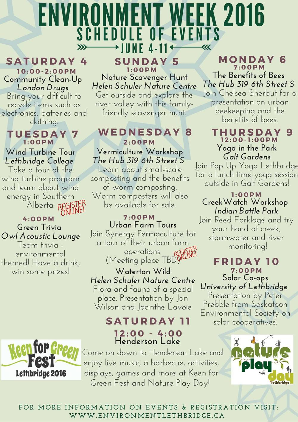 Schedule of Events for Environment Week