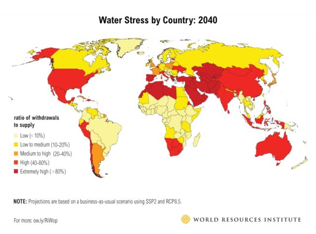 Please note Canada has a ranking of 96 out of 168 countries - we are also at risk.  We must also consider how best to share water resources in the upcoming decades.   Visit Article on WRI.com