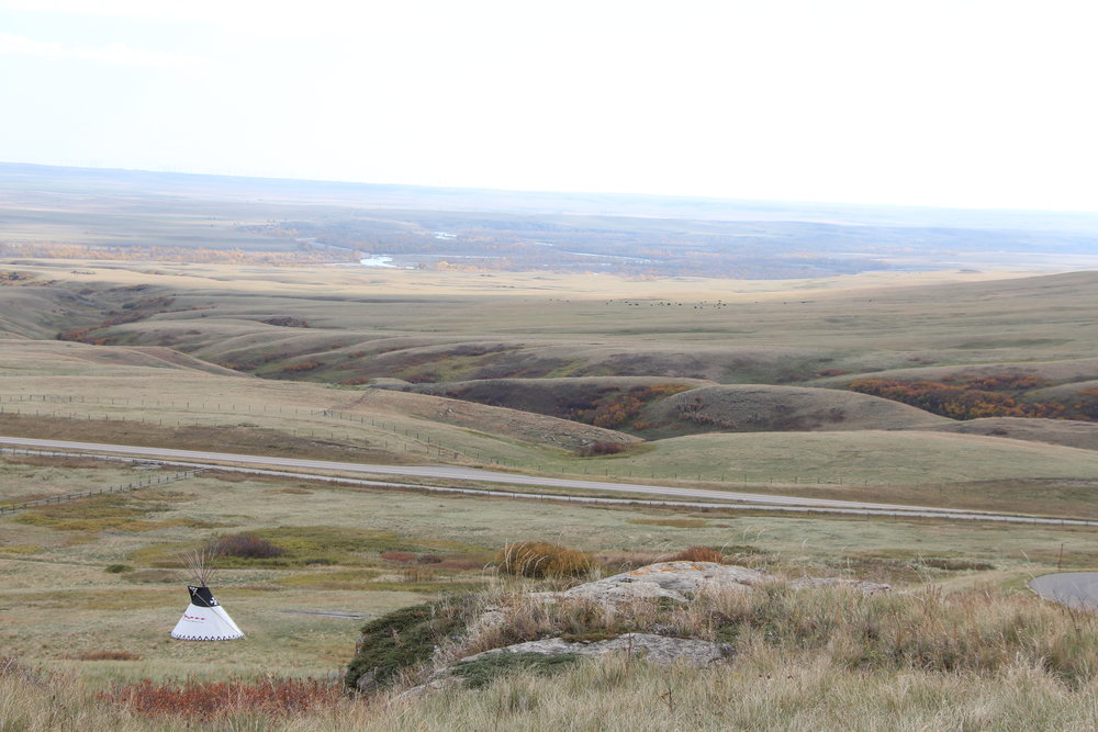 Overlooking Head-Smashed-In Buffalo Jump, with the Oldman River in the distance.