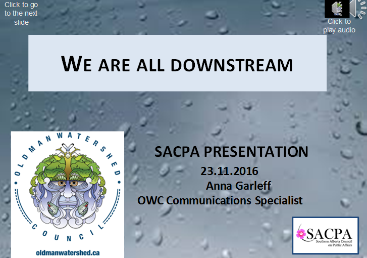 """On November 23, 2016, OWC's Communications Specialist, Anna Garleff gave a presentation at the SACPA event which provided folks with an update on the film project, the timelines and various other aspects associated with the film project. To view and listen to the presentation please click on the link below. Please click on the """"Click to play audio"""" or """"Click to play video"""" buttons to listen to the presentation or view the videos on each slide and then click anywhere to go to the next slide. Click Here to View the Presentation"""