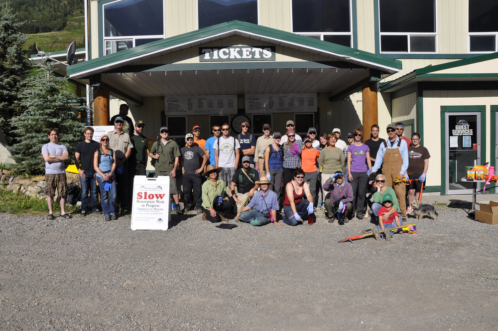 Volunteers at a 2013 Weed Pull Hosted at Castle Mountain Resort organized by Castle Crown Wilderness Coalition. Photo credit: OWC