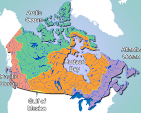 Canada's drainage basins flow into five different water bodies. (Photo: Wikipedia)