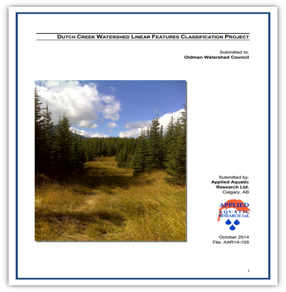 Dutch Creek Linear Features Classification Project - 2014