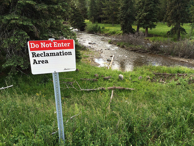 Reclamation Area - These are red and white signs indicating that work has been done in the area to help with regrowth and restoration. It's important that users stay clear of the area, as it's in a fragile state, and any outside influences can impede its recovery.