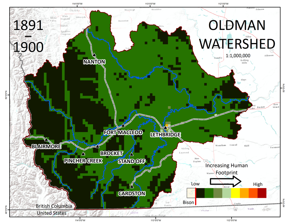 Here's what the watershed looked like at the turn of the last century. Map Copyright Anna Garleff / Oldman Watershed Council, 2017