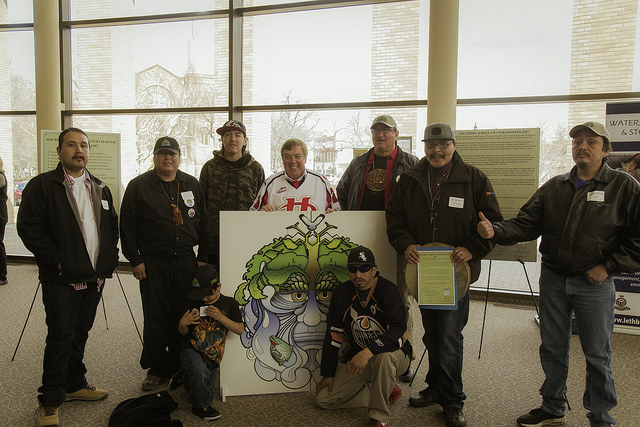 North Bloodz Drummers composed a traditional song especially for OWC about the Oldman River. The group drummed in the signing ceremony with Mayor Chris Spearman at Lethbridge City Hall on April 7th, 2017.