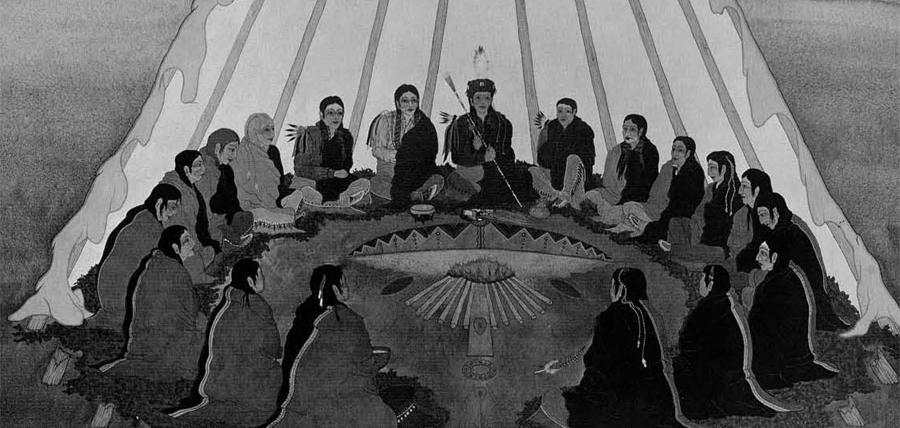"""""""Peyote Ceremony"""" by Woodrow Crumbo"""