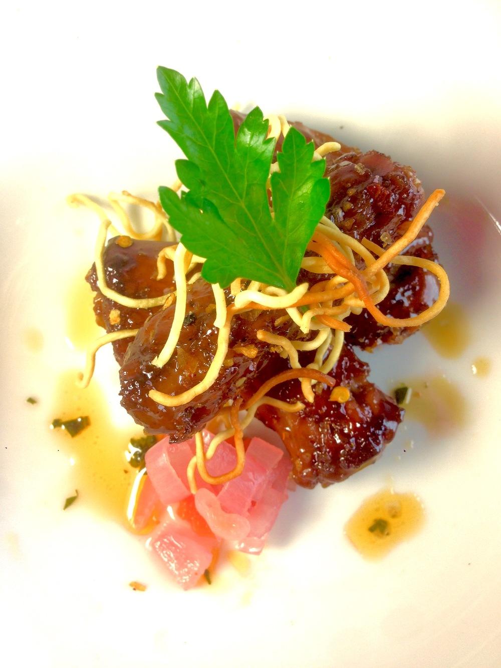Duck Necks in tamarind and palm sugar glaze, habanero salt, pickled shallots