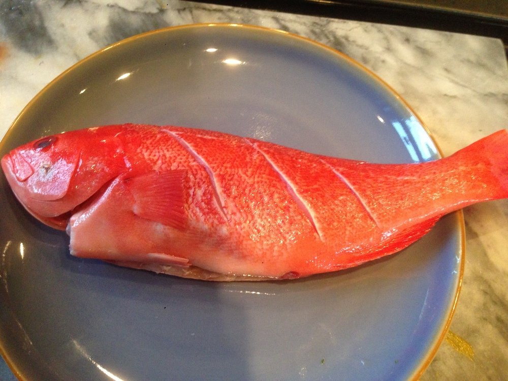 Beautiful red snapper ready to be fried.