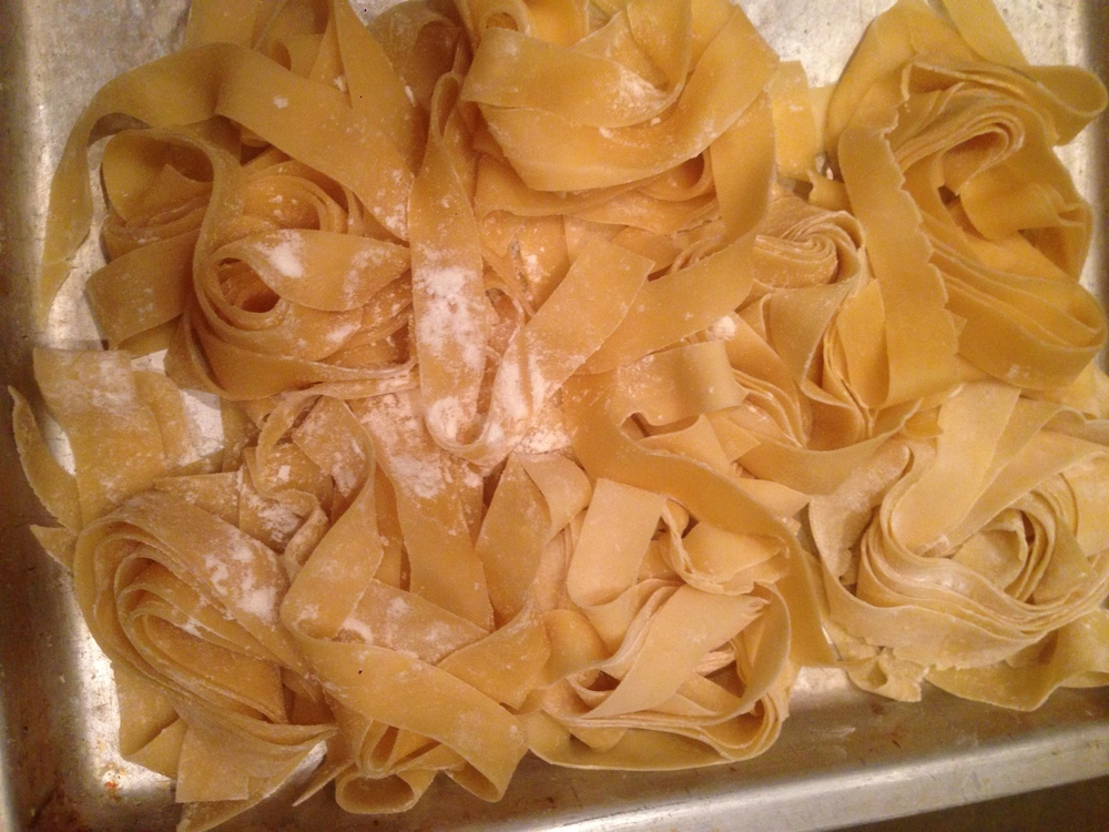 Homemade, hand cut pasta.