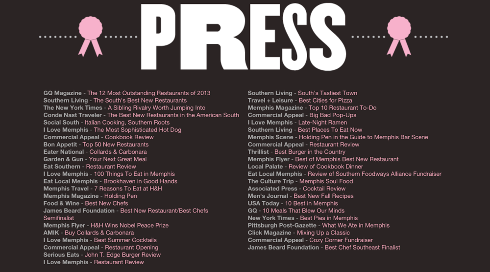 Hog & Hominy Press and Recognition