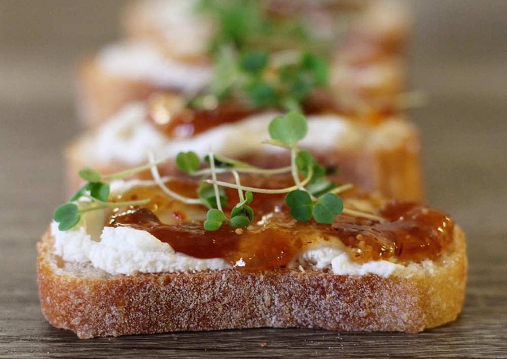 Baguette with Goat Cheese, Fig Preserves and Microgreens
