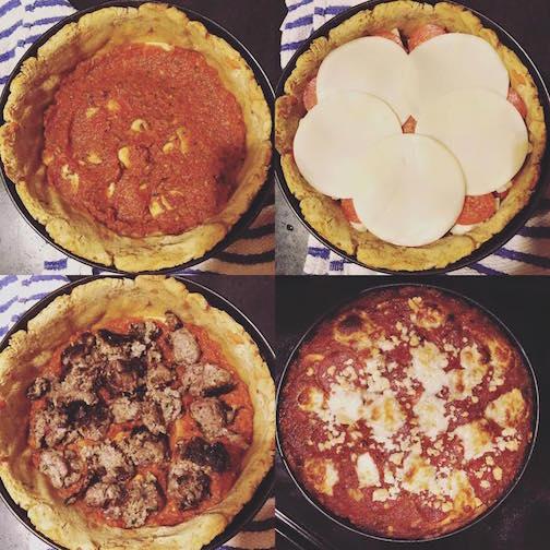 Denise Sakaki's Meatball, Pepperoni, Mushroom and Cheese Deep Dish Pizza using a Squash/Yam Gluten-Free Crust
