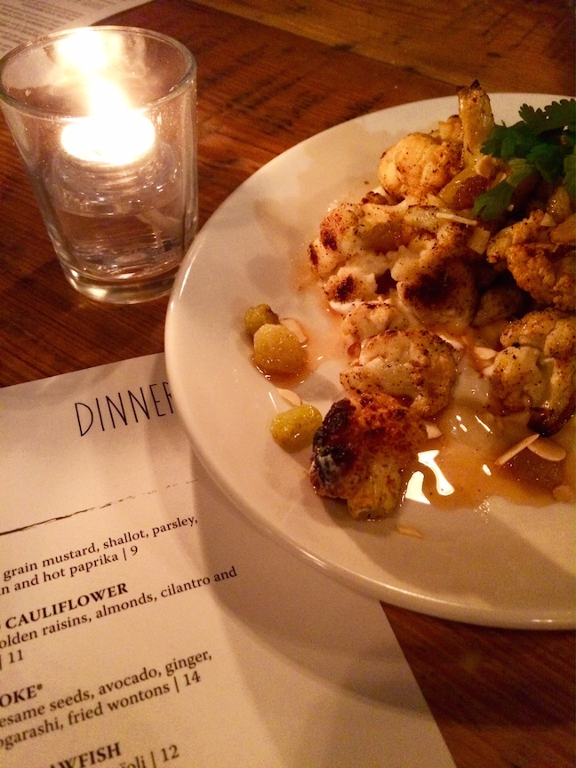 Moroccan Spiced Cauliflower with Lemon Yogurt, Pickled Golden Raising, Almonds, Cilantro and Golden Raisin Gastrique