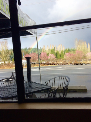 A rainbow outside of the Twisted Cuban Cafe, Woodinville, WA