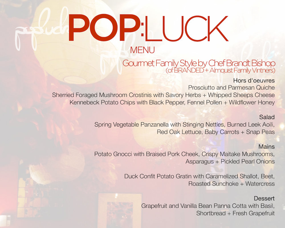 Pop:Luck 5-Course Menu by Chef Brandt Bishop