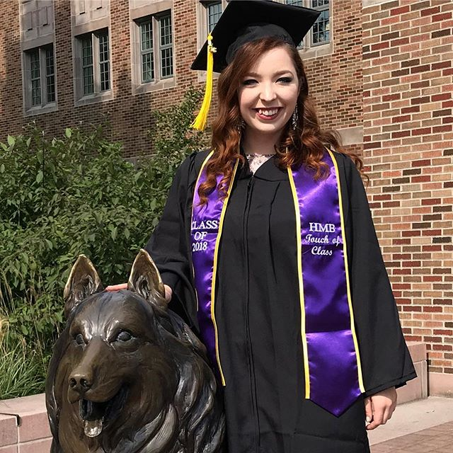 SHE DID IT! Congratulations Kaylie! #uwgrad18 #huskymarchingband #fullofBS