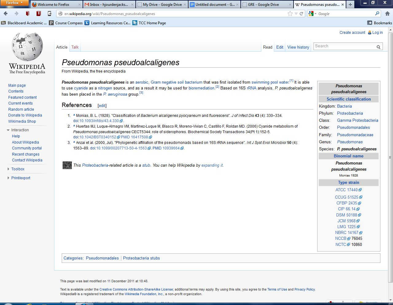 Wikipedia page Pseudomonas Pseudoalcaligenes