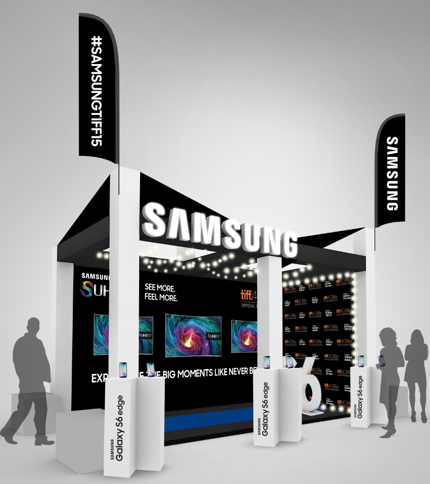 Rendering for the Samsung TIFF exhibit in David Pecault Square.