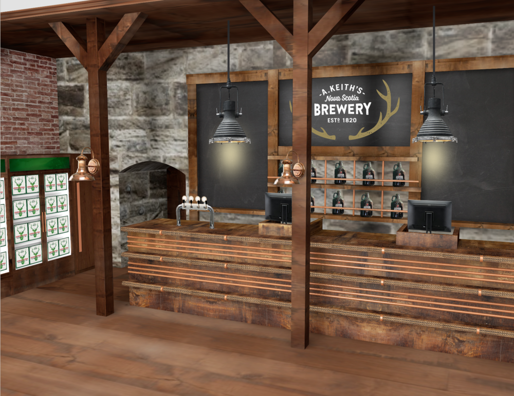 Rendering for the renovated retail space of the Alexander Keith's Brewery in Halifax.
