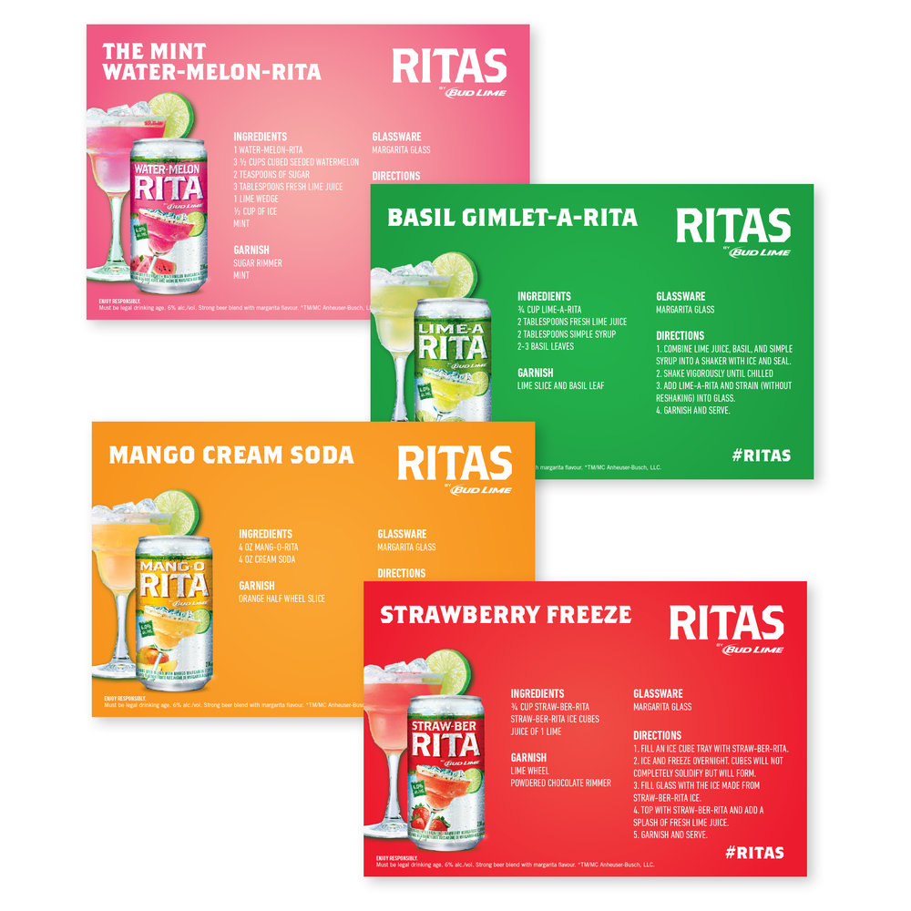 Recipe cards to go inside Ritas gift baskets.