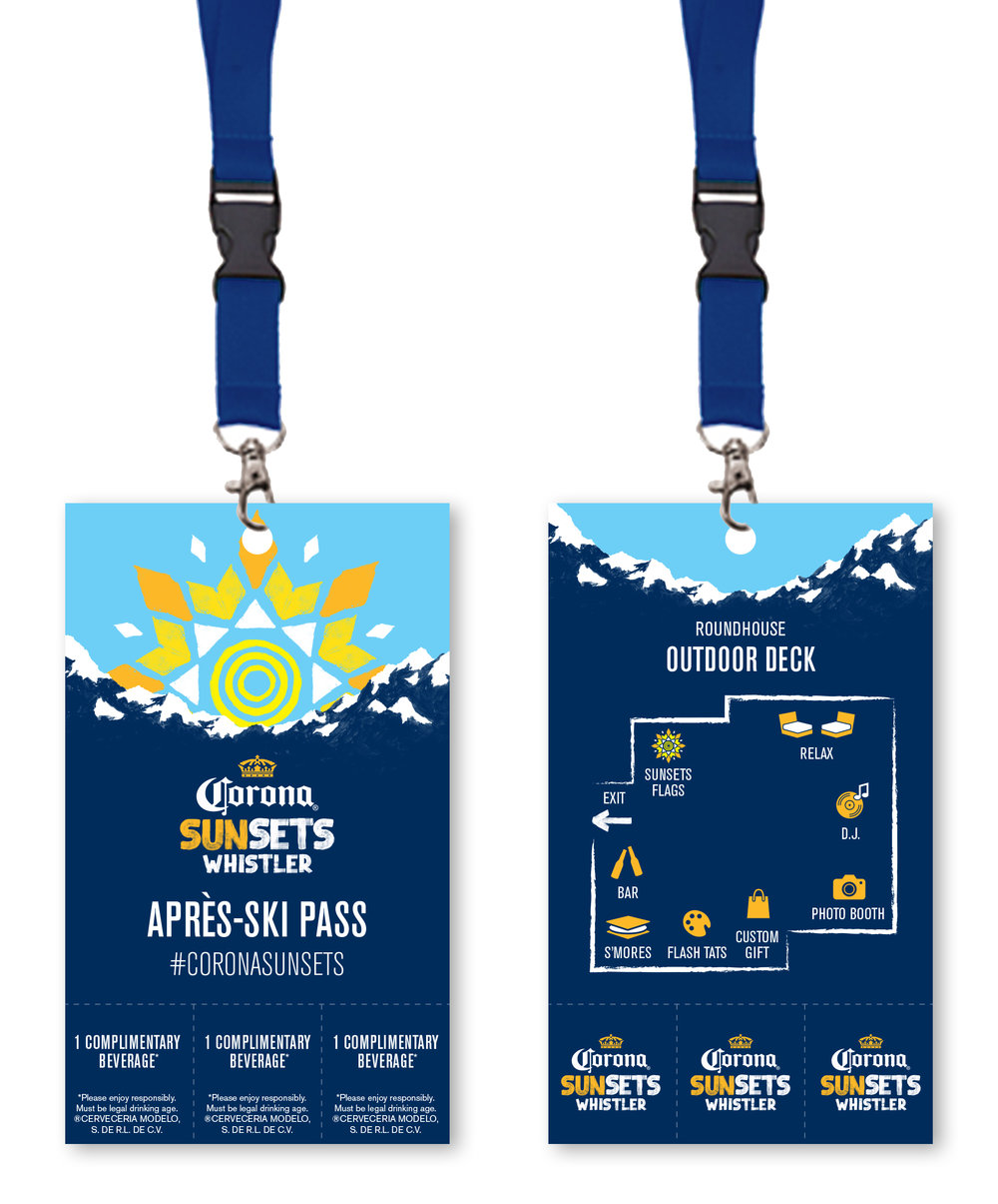 """Apres-Ski"" lanyard passes for the Corona Sunsets event in Whistler, BC. Includes 3 detachable drink tickets."
