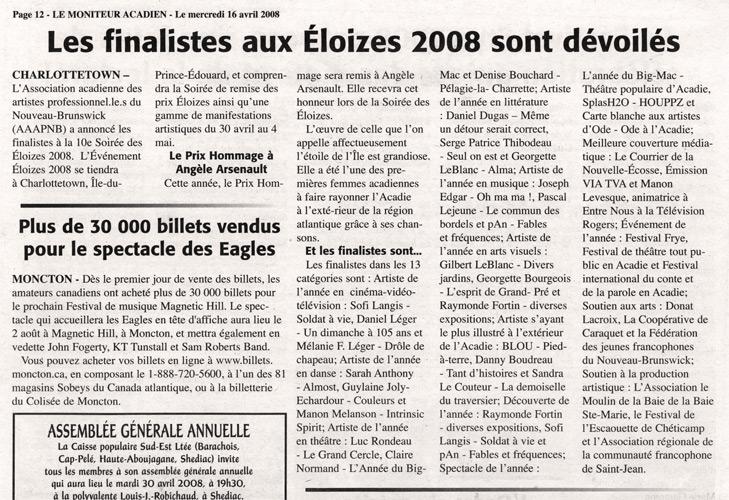 Avril 2008, prix Éloizes