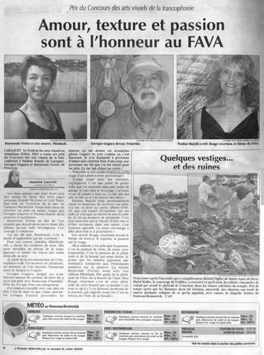 Juin 2005, Prix du concours de la francophonie en arts visuels, FAVA