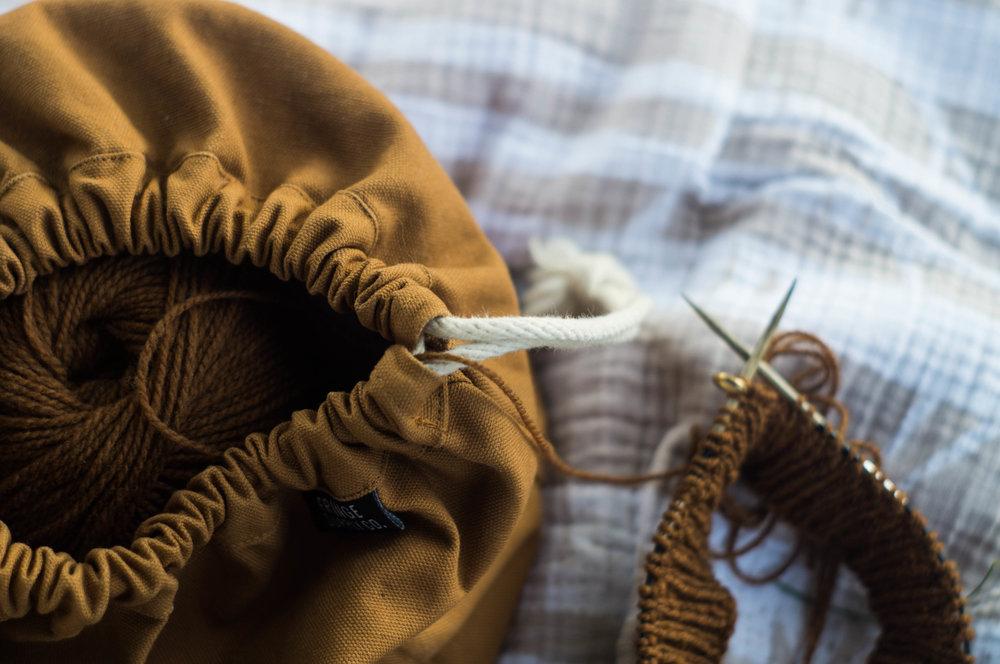 knitting fringe field bag camel wool by samantha spigos