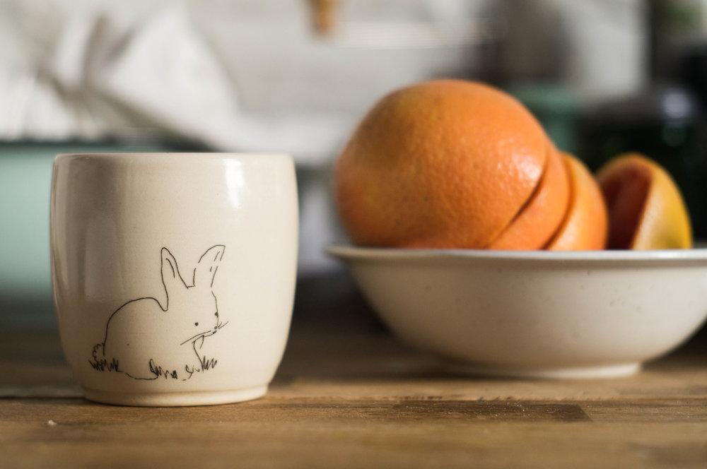 ceramic bunny tea cup kata golda by samantha spigos