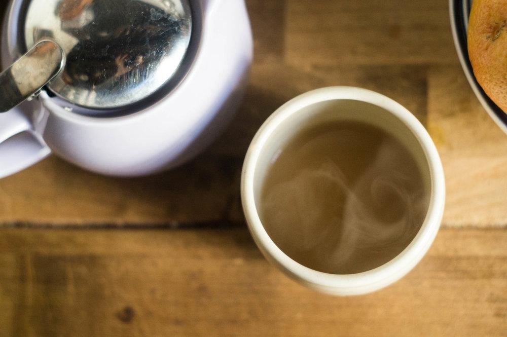 black tea ceramic tea cup lilac teapot by samantha spigos