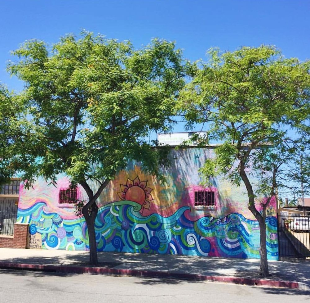 """Endless Summer"" mural for The Avenue Mural Project, City Heights, San Diego, 2017"