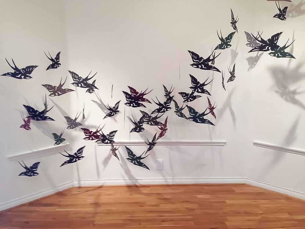 Our Spirits Still Fly Free Installation- Hand-cut paper and monofilament Oxnard College 2014
