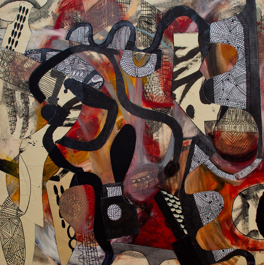 "Serpentine 33"" x 33"" Mixed media collage on birch panel 2012"
