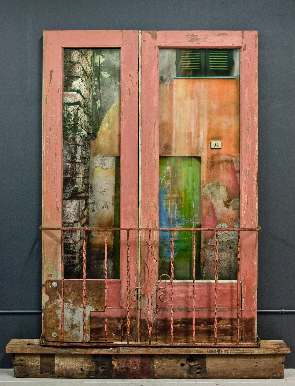 "Spello Construction  Painted film, chalk pastel, painted wood, metal, glass 96"" x 56"" x 6 inches Jeannie O'Connor"