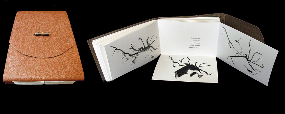 Arbres Arrencats d'Ametles  (Upturned Almond Trees), artist's book with leather binding.  Text by Maw Shein Win