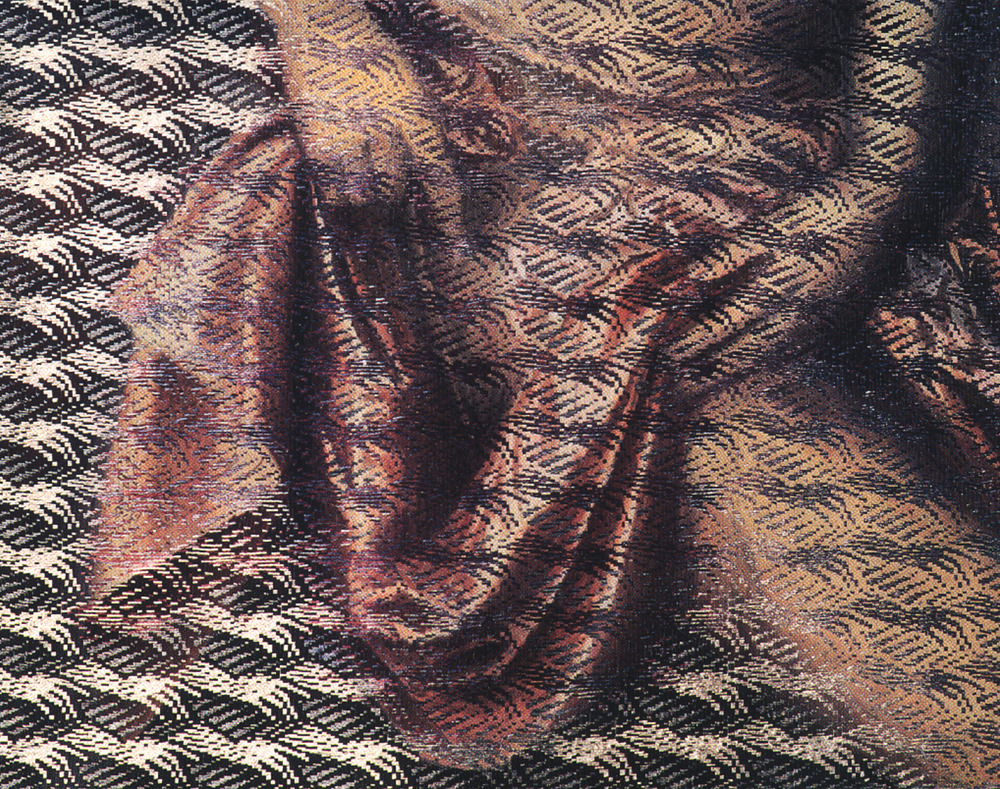 "Point of Touch Bathsheba  1995 Linen, rayon, oils, dyes, woven and pressed. Work is a part of series of work done in the 1990's focused on details from old masters and mistresses, paintings of drapery and the touch of the hand or body on cloth. ""Material Pleasures"" and ""Point of Touch"" were the latest series and revealed more of the hand and body."